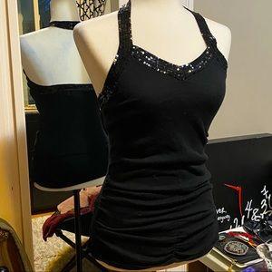 Black Sequin Halter Top